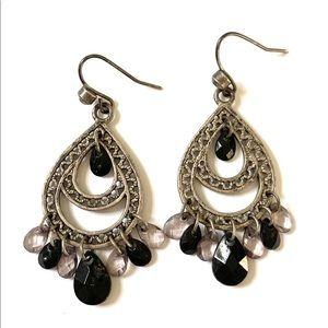 Silver Black Dangle Earrings